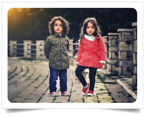 Nice personalized postcard sample with children